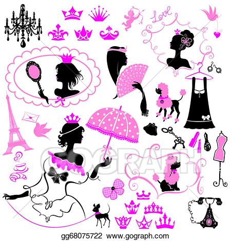 Princess accessories clipart png royalty free library EPS Illustration - Fairytale set - silhouettes of princess ... png royalty free library