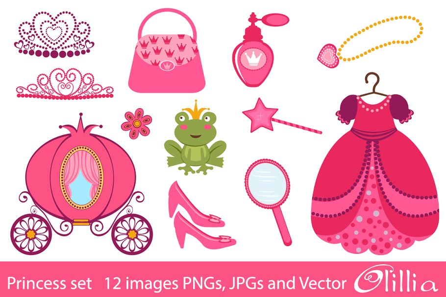 Princess accessories clipart banner library Princess set banner library