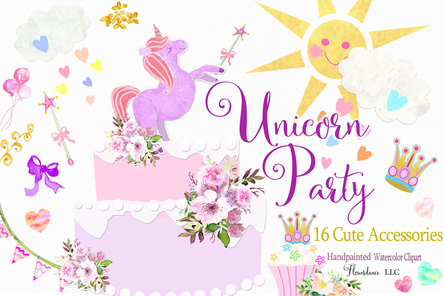 Princess accessories clipart vector freeuse download Unicorn Clipart in Rainbow Colors, Princess, PNG, Watercolor vector freeuse download