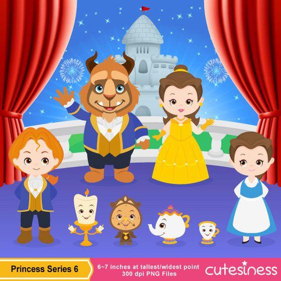 Princess belle clipart cute image transparent stock Princess Digital Clipart Princess Clipart Beauty by Cutesiness ... image transparent stock