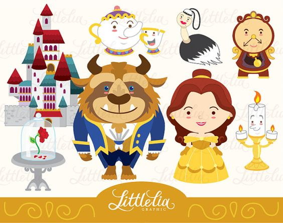 Princess belle clipart cute graphic freeuse Princess clipart Belle and Beast clipart set by LittleLiaGraphic ... graphic freeuse