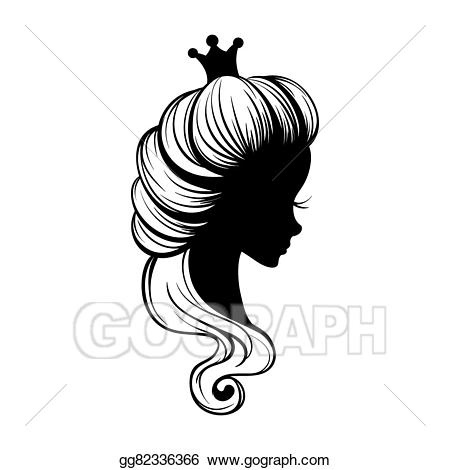 Princess clipart silhouette picture library download Vector Art - Princess portrait silhouette. EPS clipart ... picture library download