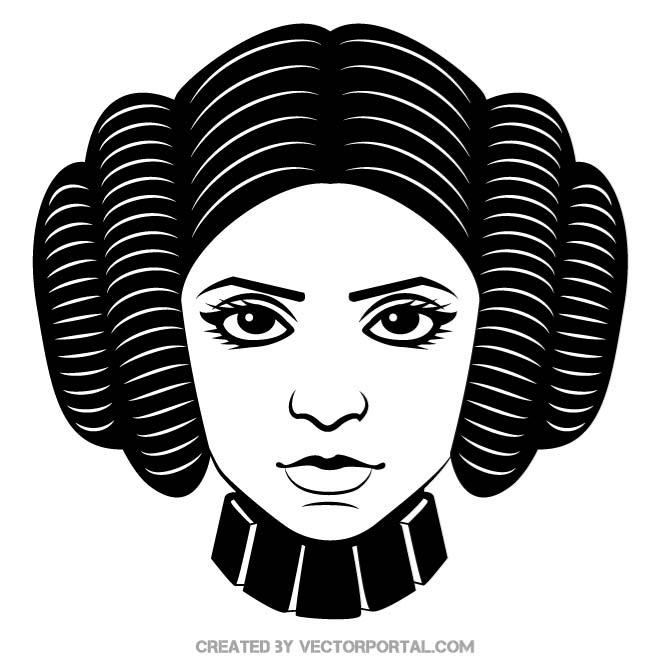 Princess leia star wars clipart black and white svg royalty free library PRINCESS LEIA - Free vector image in AI and EPS format. svg royalty free library