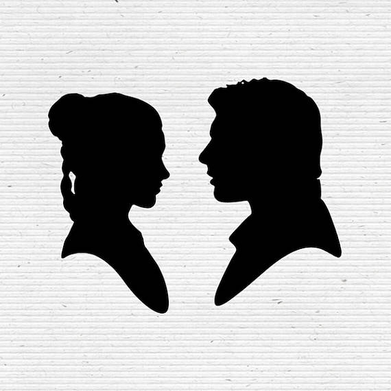 Princess leia star wars clipart black and white svg download Han Solo and Princess Leia, Star Wars Silhouette SVG Cutting ... svg download