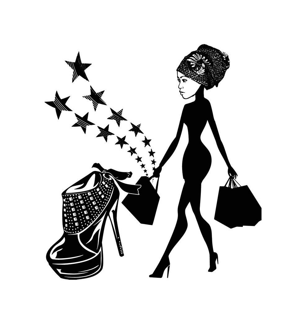 Princess shoes for girls clipart black and white clipart freeuse stock Amazon.com: EvelynDavid Black Woman Silhouettes Classy Lady ... clipart freeuse stock