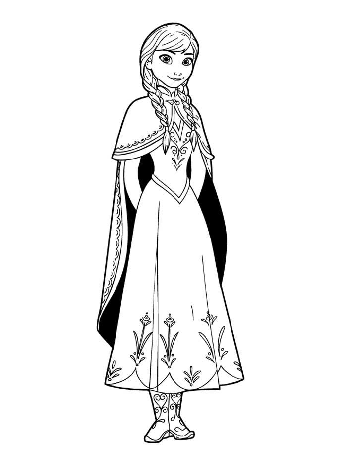 Princess shrinky dink clipart black and white png royalty free Disney Frozen Anna Coloring Pages - LetsColoring.com ... png royalty free