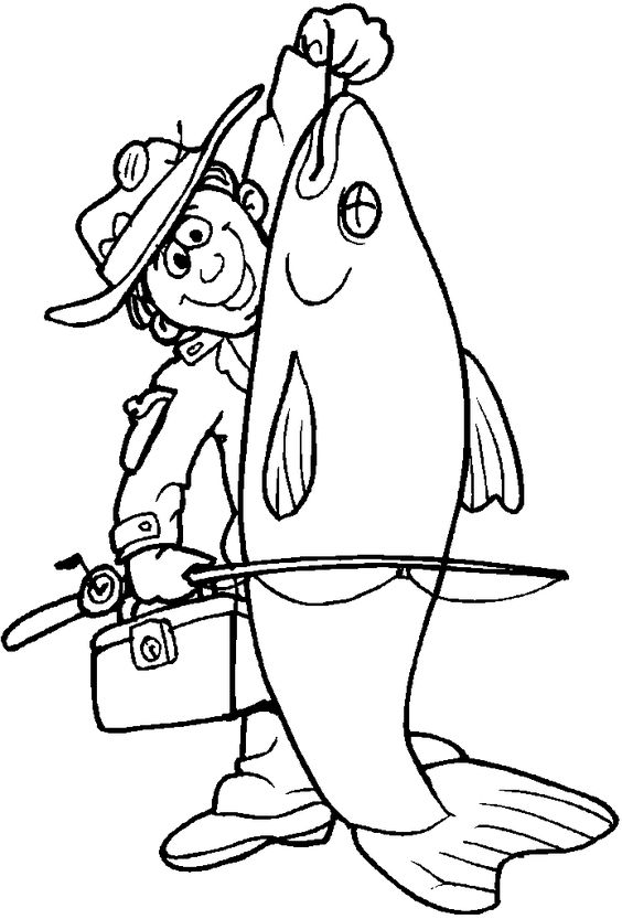Print clipart from site vector free download Fisherman Card. lots of coloring pages on this site to print | Bl ... vector free download