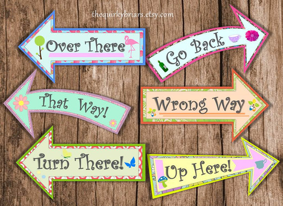 Printable arrow signs clipart freeuse download Alice In Wonderland / Large Arrow Signs / Mad Hatter / Birthday ... clipart freeuse download