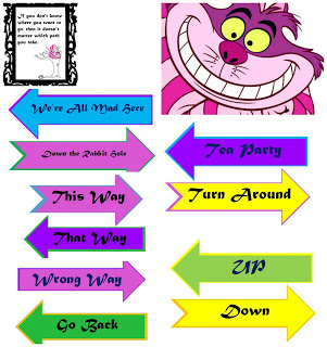 Printable arrow signs png freeuse library DIY Alice in Wonderland Directional Sign Post - FREE Printable ... png freeuse library