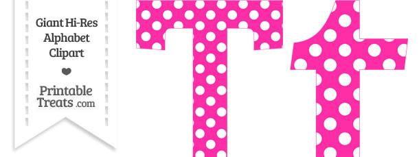 Printable clip art letters jpg transparent Hot Pink Polka Dot Letter T Clipart — Printable Treats.com jpg transparent