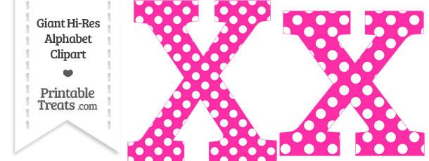 Printable clip art letters banner freeuse stock Hot Pink Polka Dot Letter X Clipart — Printable Treats.com banner freeuse stock