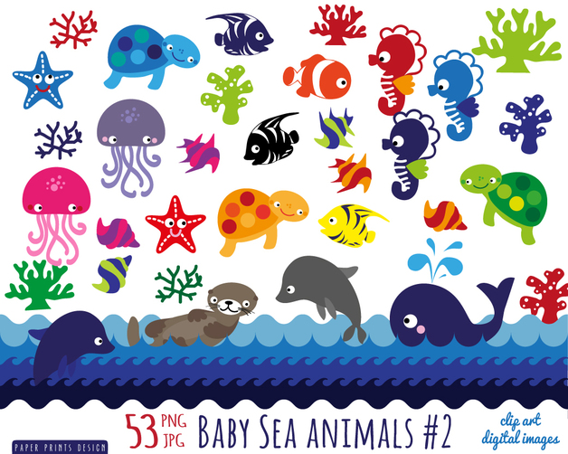 Printable clipart clipart transparent download Sea Animals Clipart - Clipart Kid clipart transparent download