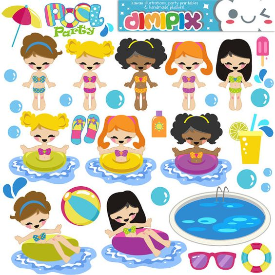 Printable clipart for girls vector freeuse library Girls Pool Party / Kit printable / Digital Clipart / Instant ... vector freeuse library