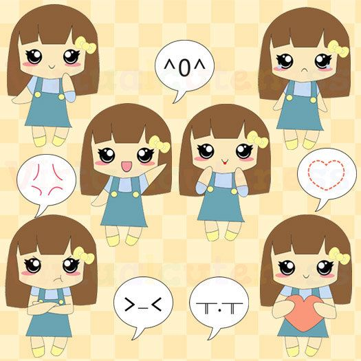 Printable clipart for girls png Cute Girl Clipart - Girl Clip Art, Chibi Stickers, Emojis, Kawaii ... png