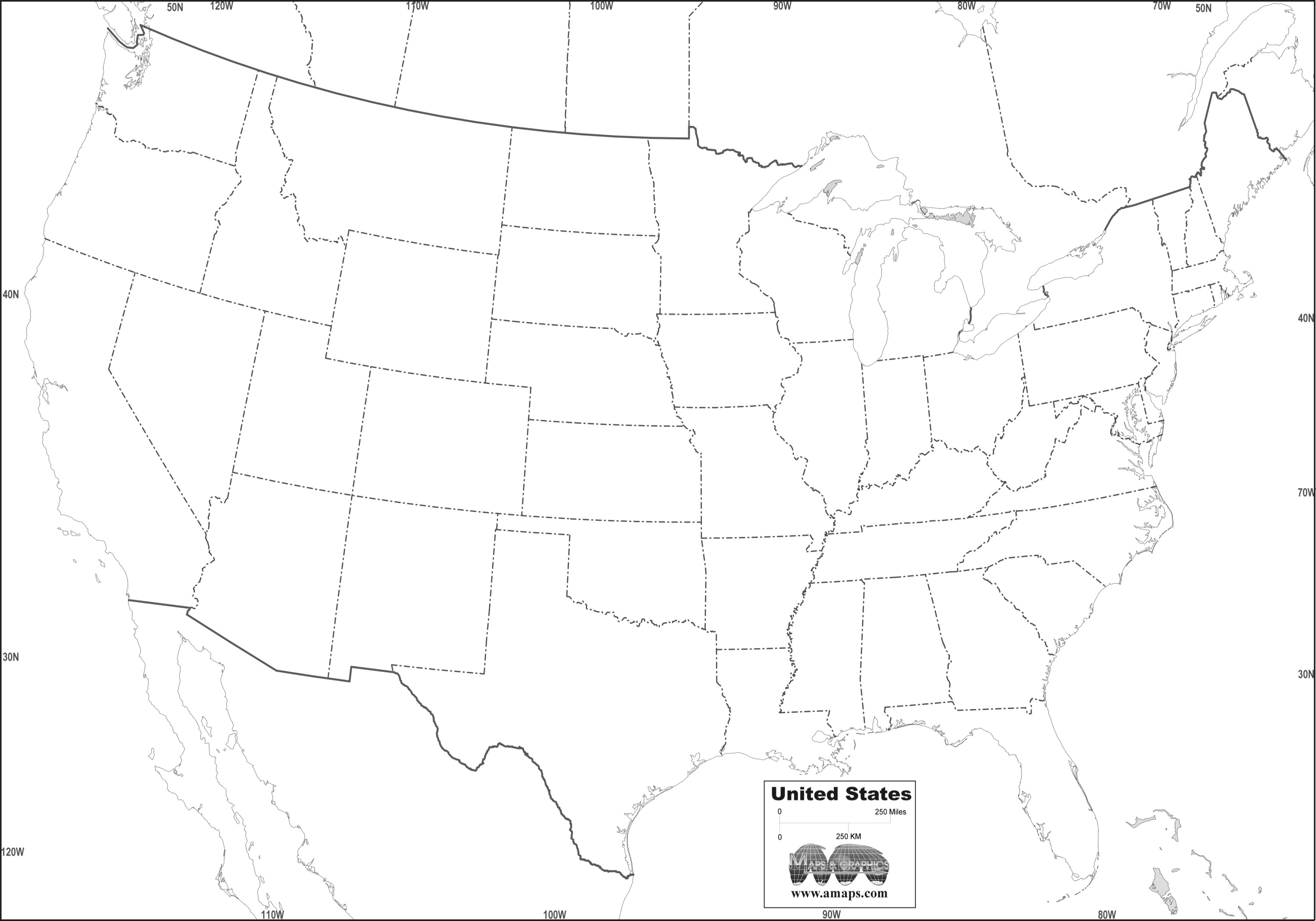 Printable clipart us map free vector black and white download Free Printable Outline Us MapAbikoya.com | Abikoya.com vector black and white download