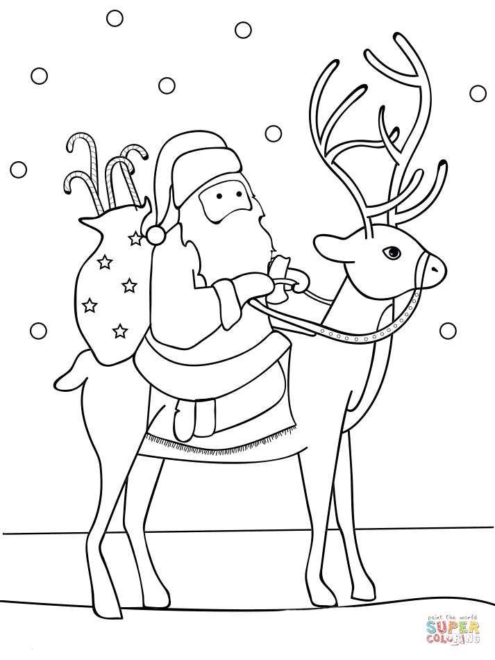 Printable coloring pages of santa and reindeer clipart clip library download Santa Riding Reindeer coloring page | Free Printable ... clip library download