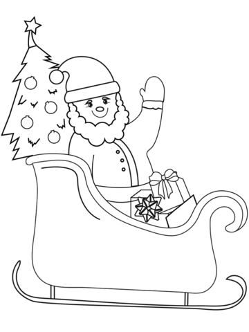Printable coloring pages of santa and reindeer clipart clipart black and white download Santa on Sleigh coloring page | Free Printable Coloring Pages clipart black and white download