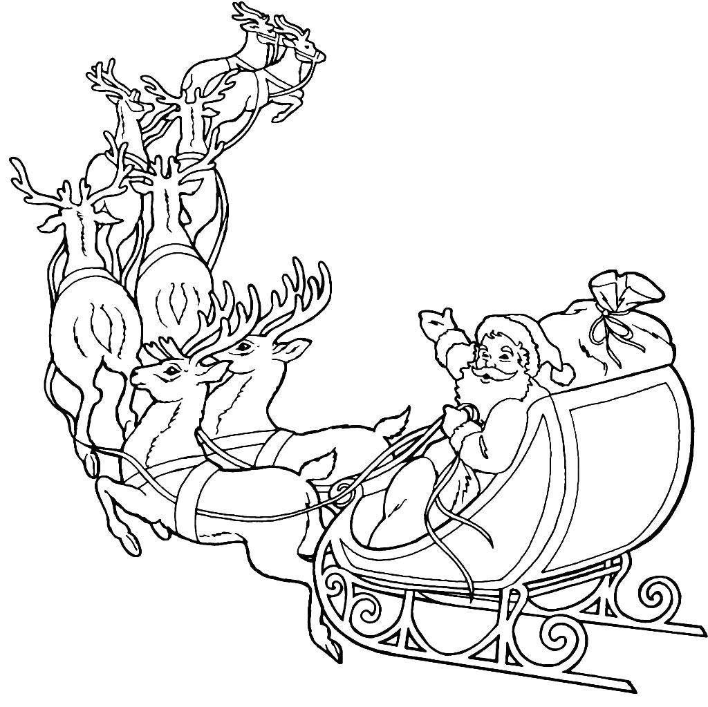 Printable coloring pages of santa and reindeer clipart clipart download Santa Claus and Reindeer Coloring Pages | Redwork Embroidery ... clipart download