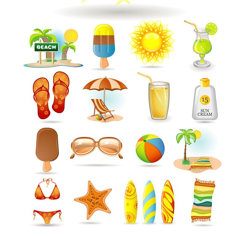 Printable graphics clipart free Free Printable Summer Clip Art | set of vector summer beach ... free