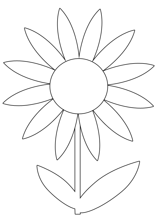 Printable images of flowers image black and white download Flower coloring pages: A single flower | Coloring, Free printable ... image black and white download