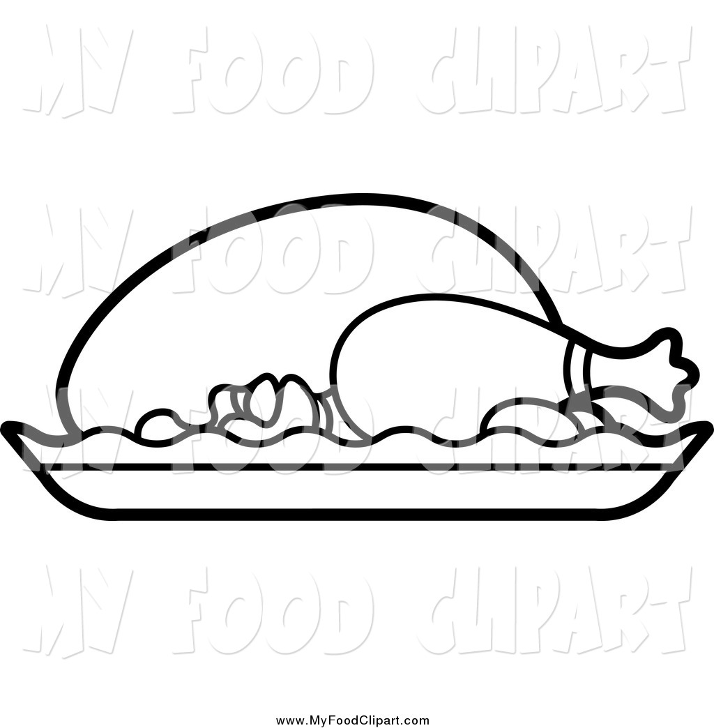 Printable images of meat and food clipart jpg transparent Food Clip Art of a Black and White Roasted Chicken by Lal ... jpg transparent