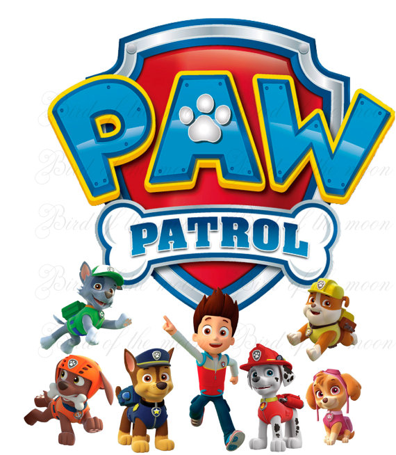 Printable paw patrol clipart image black and white stock instant download PAW PATROL team Printable DIY by birdofthemoon ... image black and white stock