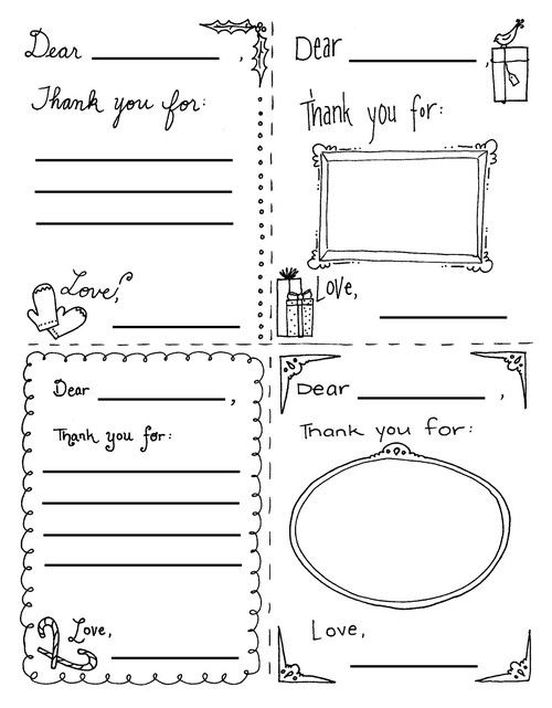 Printable thank you teacher christmas cards clipart library Free Printable Thank You Notes for Children | A Year of ... library