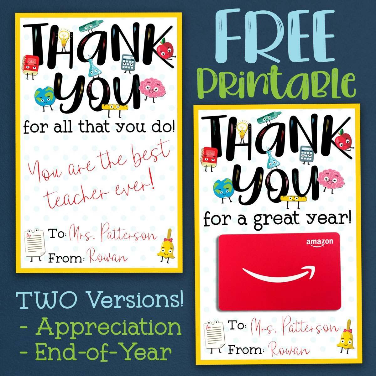 Printable thank you teacher christmas cards clipart svg black and white download FREE Teacher Appreciation Thank You Printable - Two Versions! svg black and white download