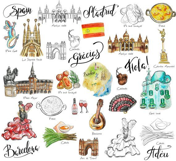 Printable travel cliparts clipart black and white download Spagna viaggi adesivi stampabili Barcellona Madrid digitale ... clipart black and white download