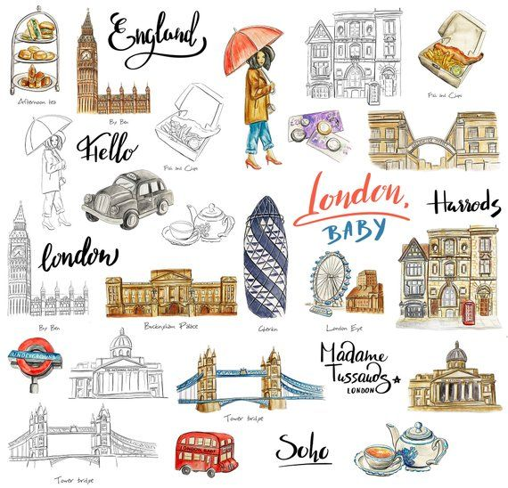 Printable travel cliparts image black and white library London sticker pack for travel journal or planner Printable ... image black and white library