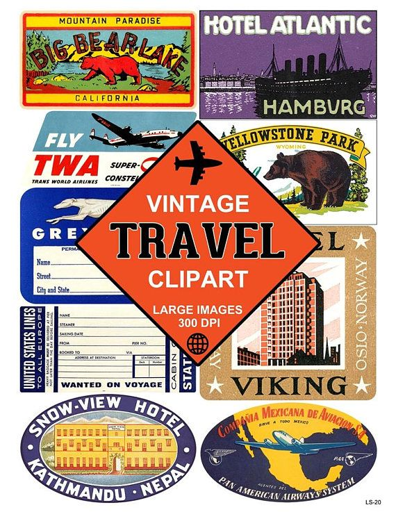 Printable travel cliparts