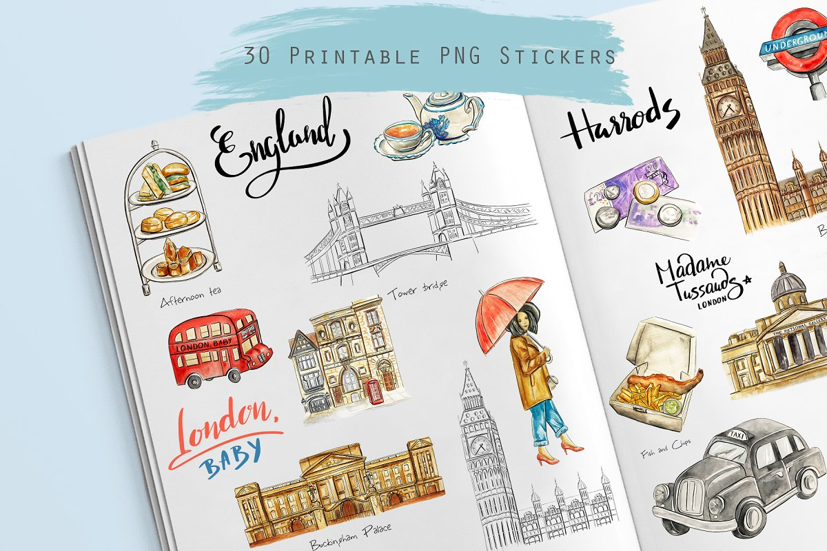 Printable travel cliparts graphic freeuse download London travel clipart ~ Illustrations ~ Creative Market graphic freeuse download