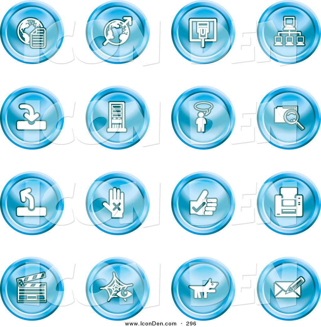 Printer email cliparts jpg black and white download Clip Art of a Set of Blue Icons of the Www, Connectivity ... jpg black and white download