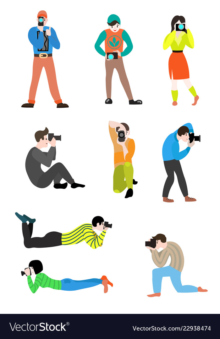 Professional men and women clipart download Set of professional photographers of men and women download