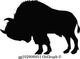 Profile of buffalo blackk and white clipart image library Buffalo Clip Art - Royalty Free - GoGraph image library