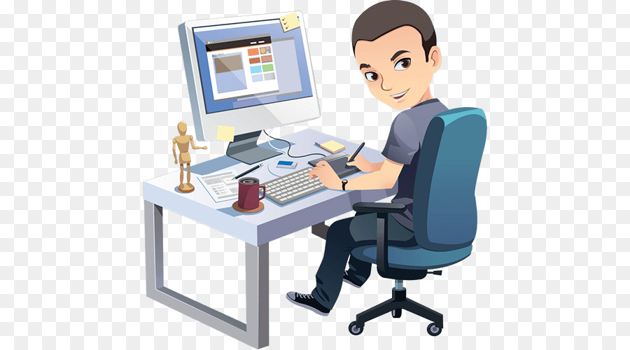 Programmer at desk clipart png freeuse download Engineering Cartoon clipart - Programmer, Office ... png freeuse download