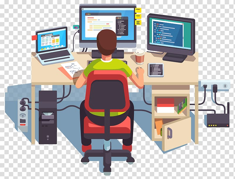 Programmer at desk clipart banner freeuse Person sitting on rolling chair using computer on desk ... banner freeuse