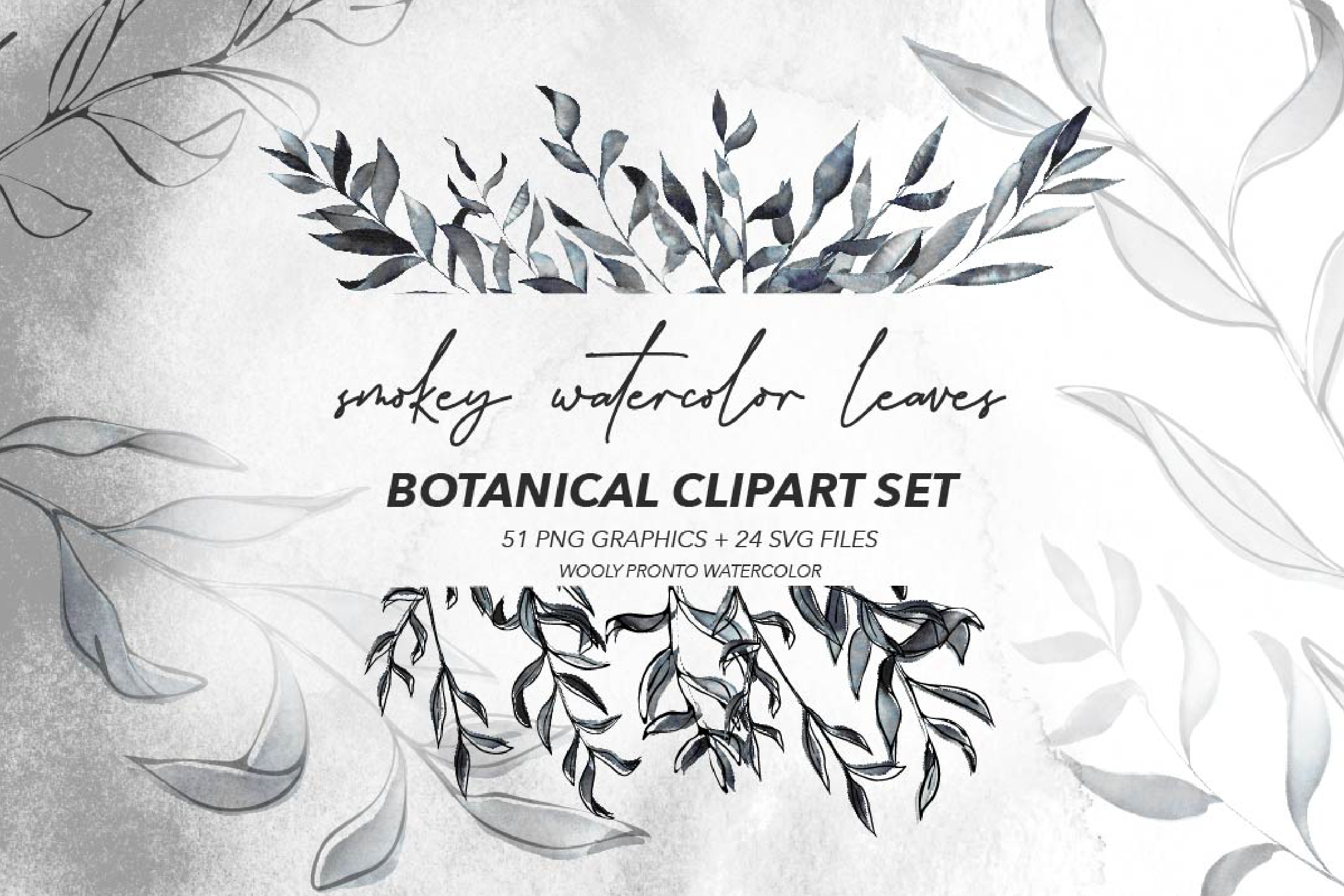 Pronto clipart clipart freeuse stock Smokey Watercolor Leaves: Botanical Clipart Kit SVG PNG - Vsual clipart freeuse stock