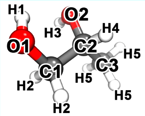 Propylene glycol clipart banner black and white Structure of propylene glycol molecule (PG) with atom ... banner black and white