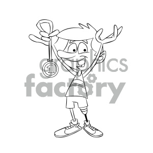 Prosthetic clipart graphic black and white library black and white cartoon runner with a prosthetic leg clipart. Royalty-free  clipart # 405554 graphic black and white library