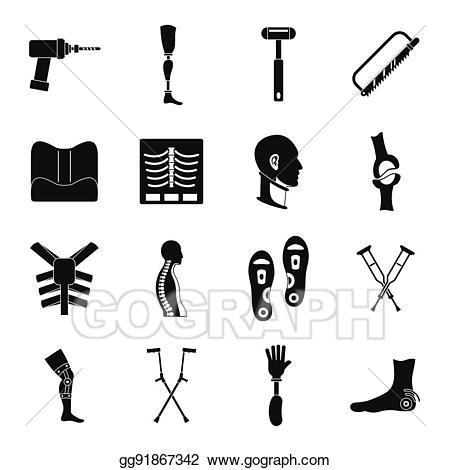 Prosthetic clipart jpg royalty free EPS Illustration - Orthopedics prosthetics icons set, simple ... jpg royalty free