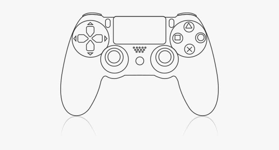 Ps4 controller clipart clipart black and white stock Video Game Clipart Remote - Ps4 Controller Drawing Easy ... clipart black and white stock