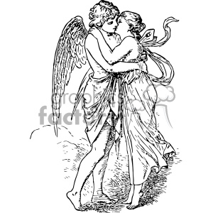 Psyche clipart banner library eros and psyche vintage 1900 vector art GF clipart. Royalty-free clipart #  402467 banner library