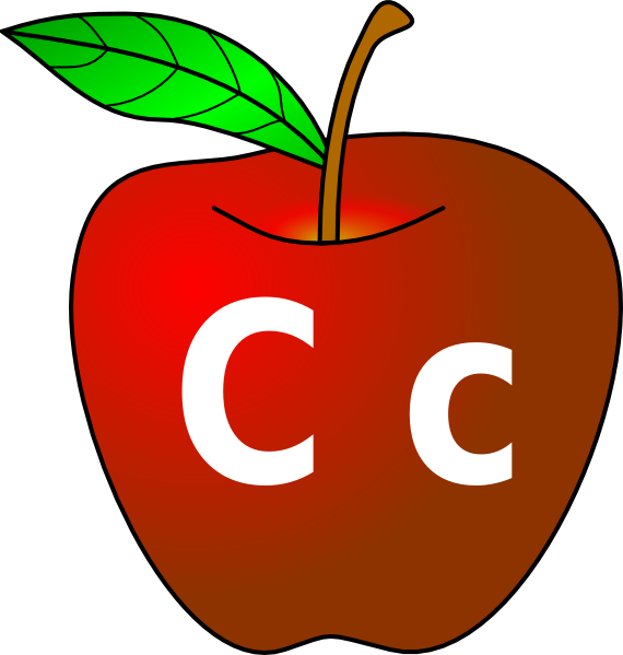 Public domain clipart apple clip black and white Apple With C C Clip Art at Clker.com - vector clip art online ... clip black and white
