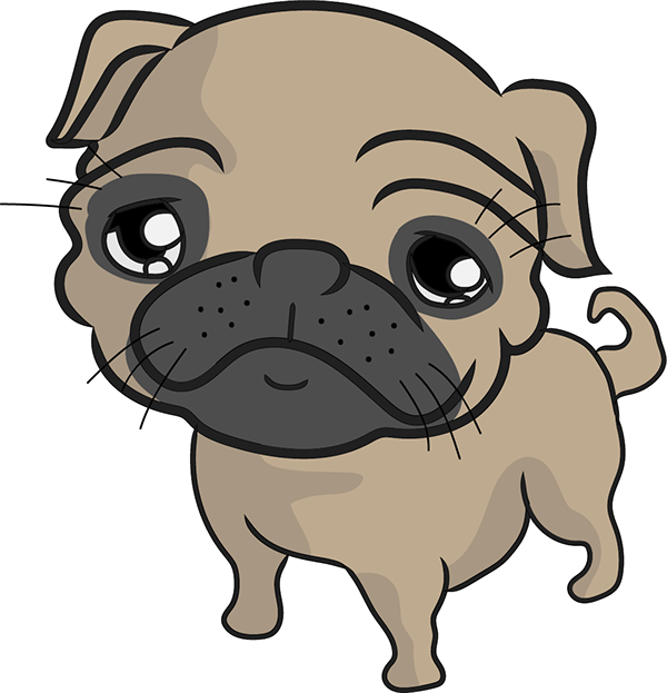 Wine glass with dog ears clipart svg free library Pug on Behance | Pugs | Pinterest | Pug cartoon, Pug life and Animal svg free library