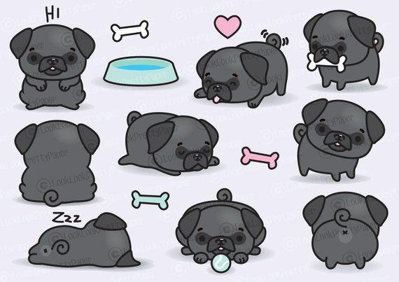 Pug tumblr clipart clip Premium Vector Clipart - Kawaii Pugs - Cute Black Pugs ... clip