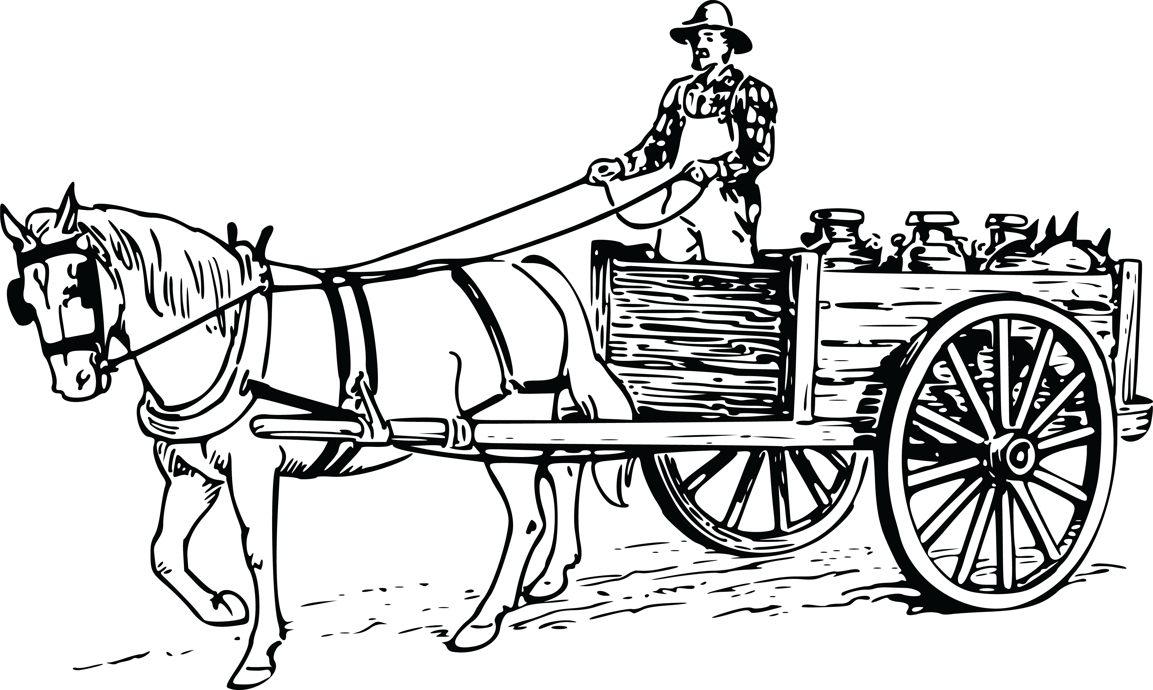 Pumpkin carriage black and white clipart svg free 28+ Collection of Horse And Wagon Clipart   High quality, free ... svg free