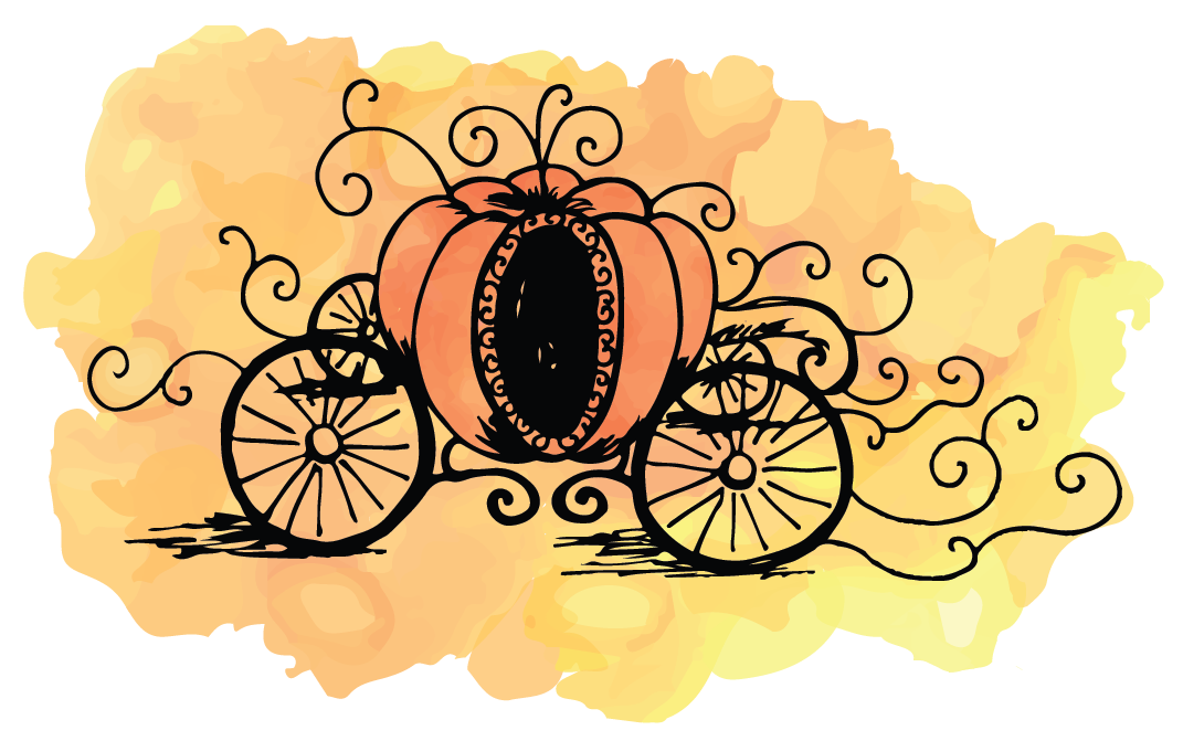 Pumpkin carriage clipart jpg black and white stock Illustration — Heidi Bain jpg black and white stock