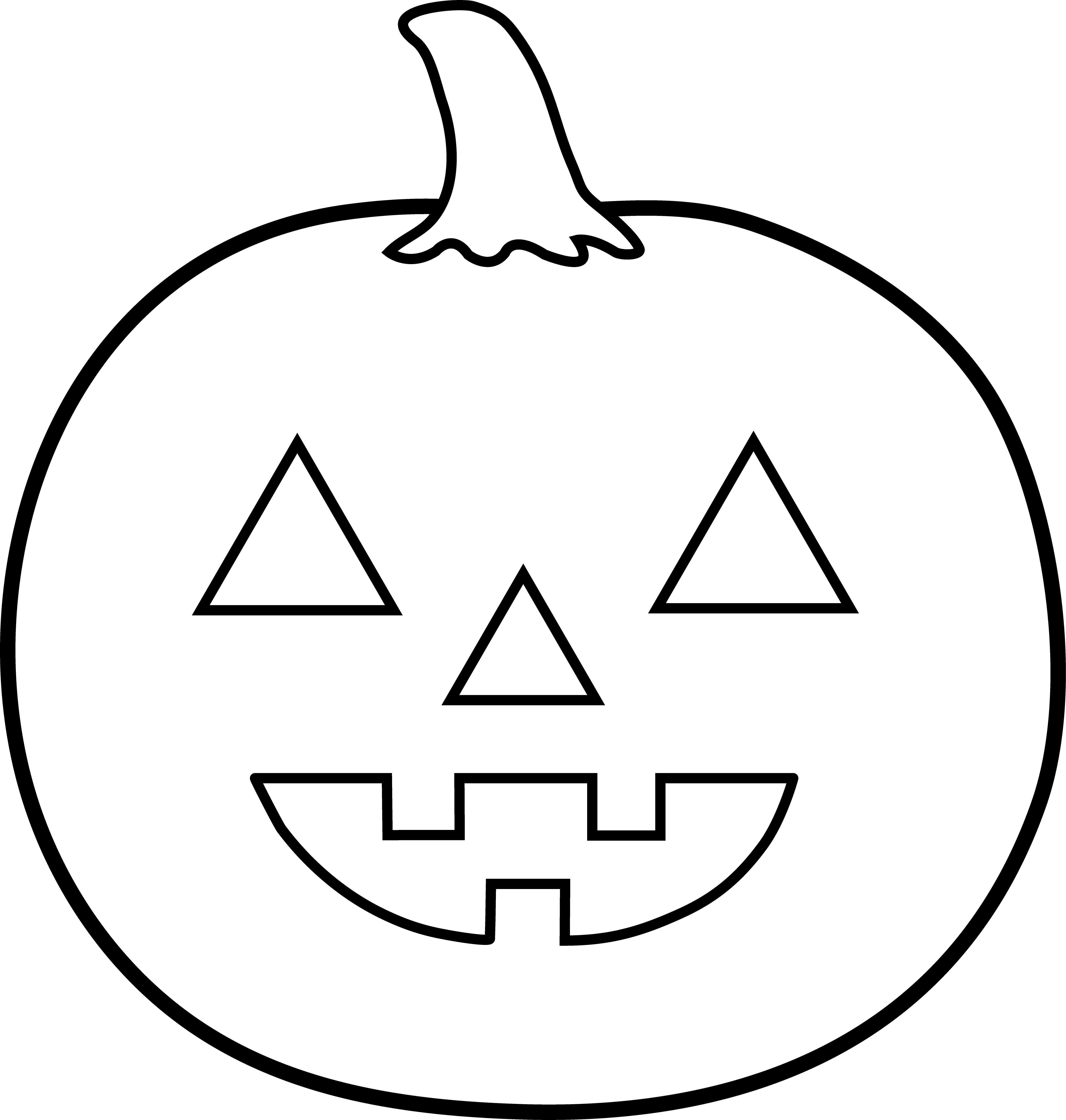 Pumpkin carving clipart black and white image royalty free Halloween Jack O Lantern For Coloring - Free Clip Art image royalty free