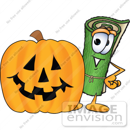 Pumpkin character clipart clip art royalty free Clip Art Graphic of a Rolled Green Carpet Cartoon Character With a ... clip art royalty free